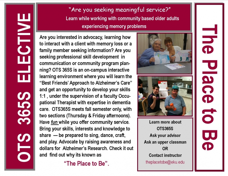 OTS 365S Elective offered for Fall 2014 - It's a great opportunity!!
