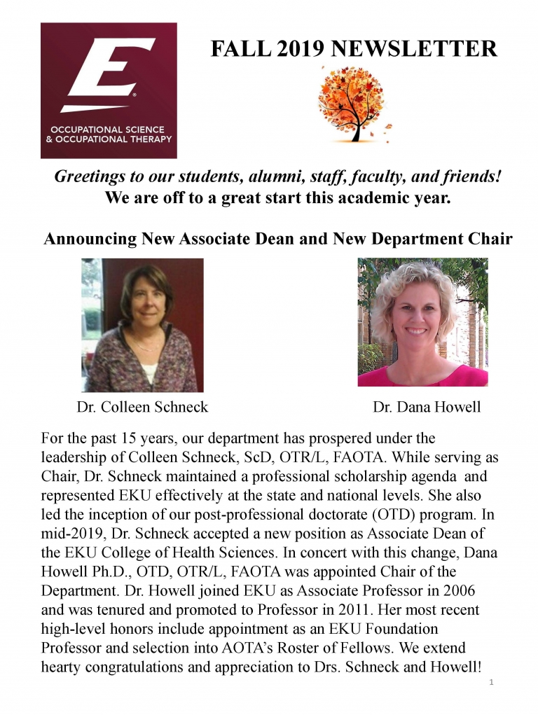 Fall 2019 Newsleter OSOT pg 1