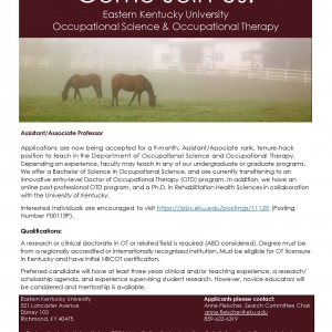 Tenure Track Faculty Position Flyer